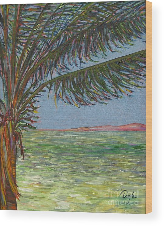 Ocean Wood Print featuring the painting Veiled Horizon by Karen Doyle