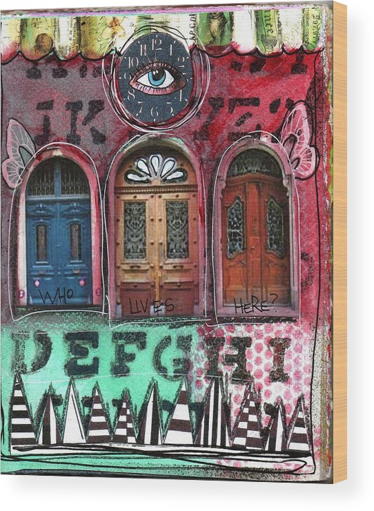 Doors Wood Print featuring the mixed media Watching Doors by Carrie Todd