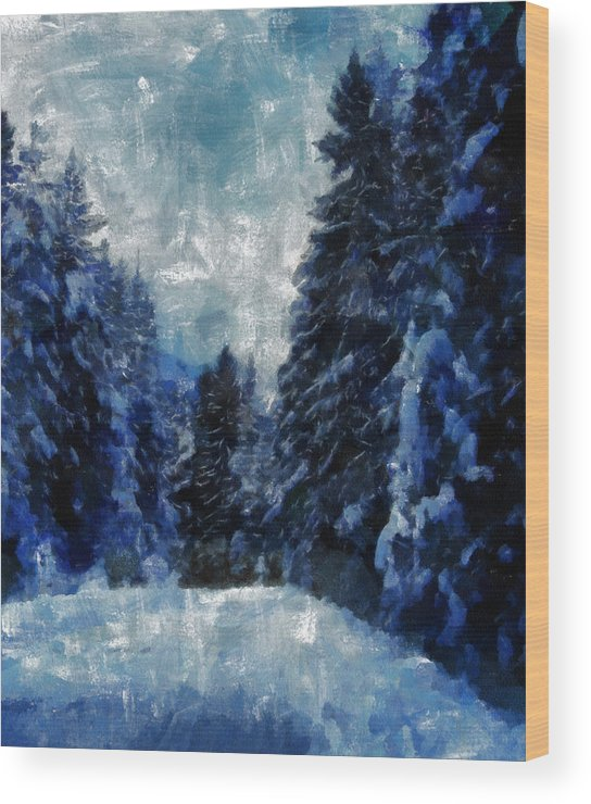 Winter Wood Print featuring the painting Winter Piny Forest by Georgi Dimitrov