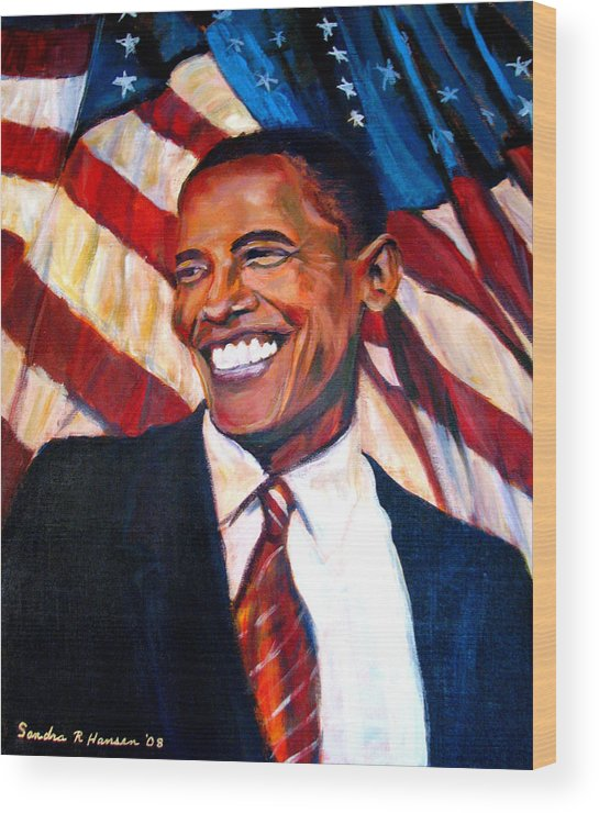Barack Wood Print featuring the painting Yes We Can by Art Nomad Sandra Hansen