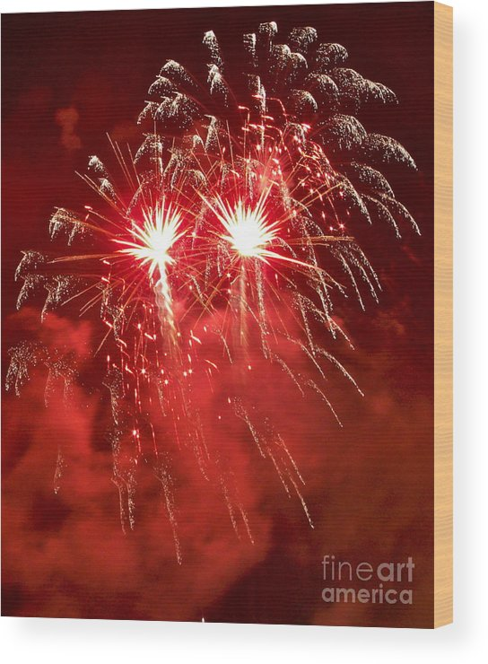 Fireworks Wood Print featuring the photograph Celebrating America by Carol Bradley