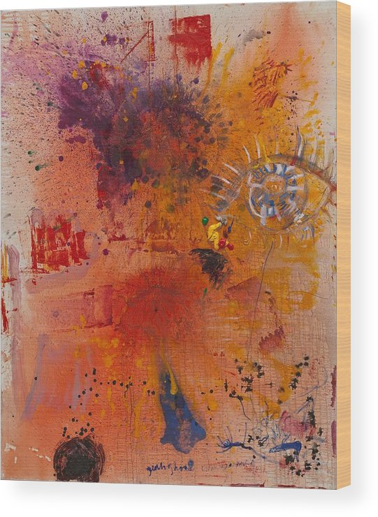 Abstract Wood Print featuring the painting Eye by Gisele Aliyah