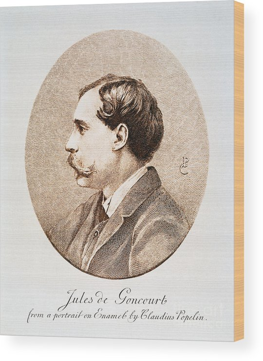 19th Century Wood Print featuring the photograph Jules A.h. De Goncourt (1830-1870). French Novelist: Engraving After A Contemporary Portrait On Enamel by Granger