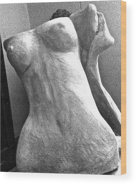 Female Torso Wood Print featuring the photograph Undressed In Black And White Frontal View by Holly Suzanne