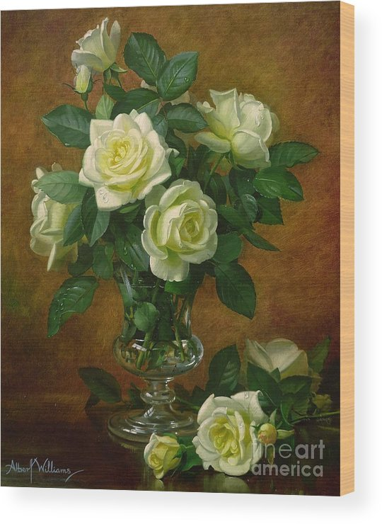 Rose; Still Life; Flower; Arrangement; Glass; Vase; Pale; Floral; Sentimental; Symbolic; Roses; Flowers; Yellow Roses; Leafs; Yellow Roses On Floor Wood Print featuring the painting Yellow Roses by Albert Williams