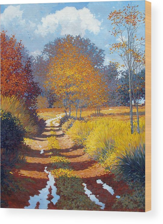 Landscape Wood Print featuring the painting Autumn by Kevin Lawrence Leveque