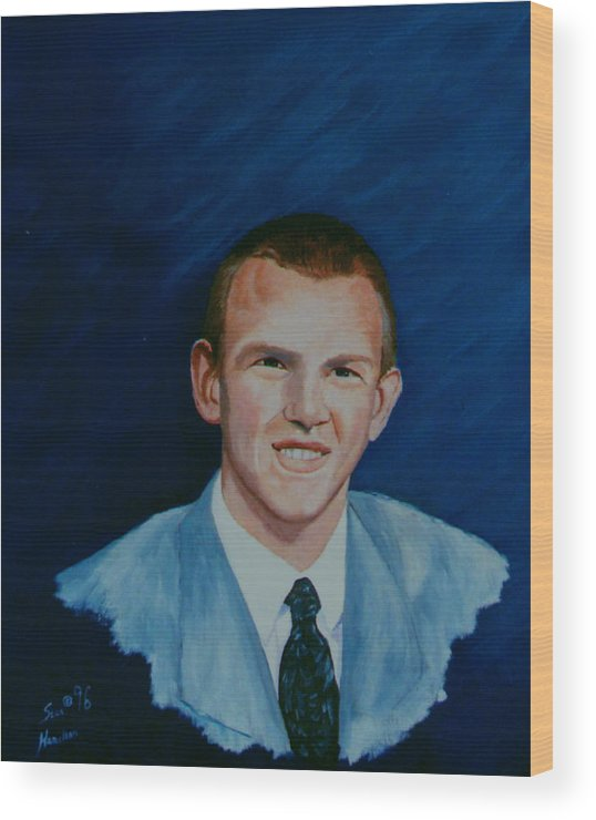 Portrait Wood Print featuring the painting Bryan by Stan Hamilton