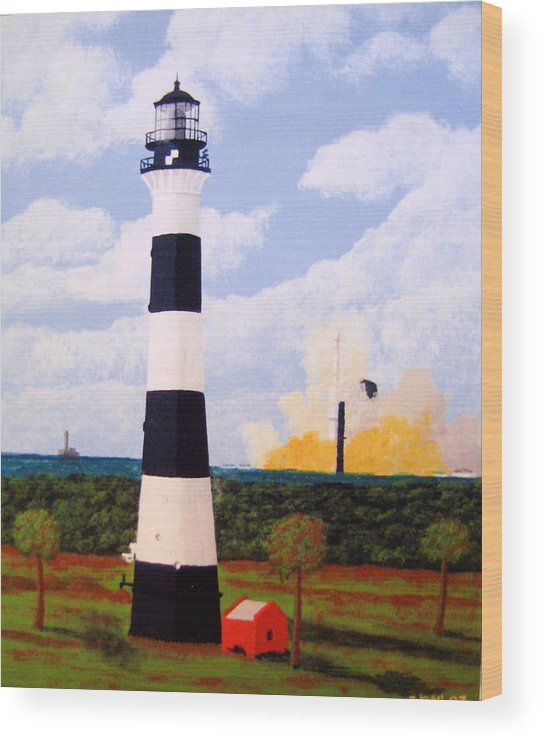Lighthouse Paintings Wood Print featuring the painting Cape Canaveral Lighthouse by Frederic Kohli