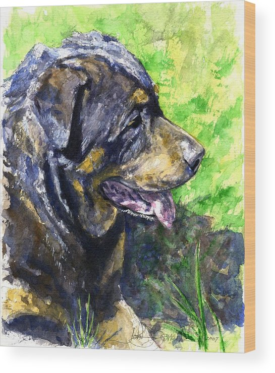 Rottweiler Wood Print featuring the painting Chaos by John D Benson