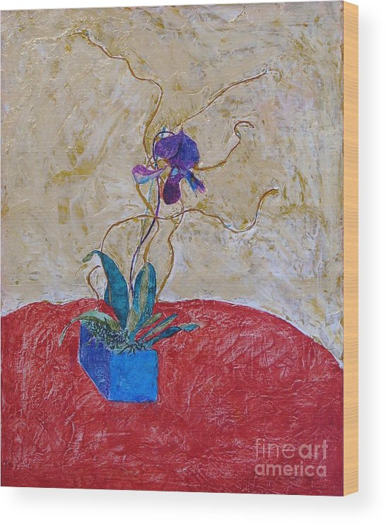 Abstract Wood Print featuring the painting Christmas Orchid by James SheppardIII