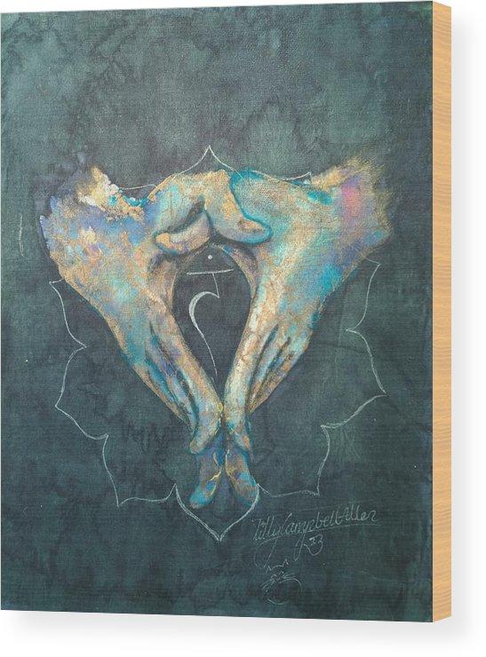Manipura Wood Print featuring the painting Manipura - Solar Plexus 'blue Hand' Chakra Mudra by Silk Alchemy