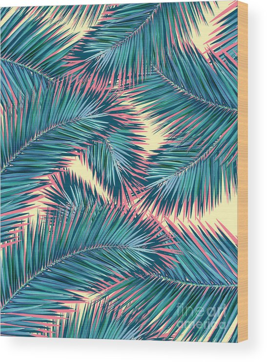 Summer Wood Print featuring the digital art Palm Trees by Mark Ashkenazi