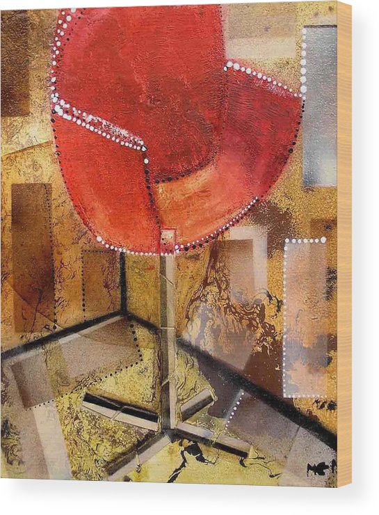 Wood Print featuring the painting Red Chair by Evguenia Men