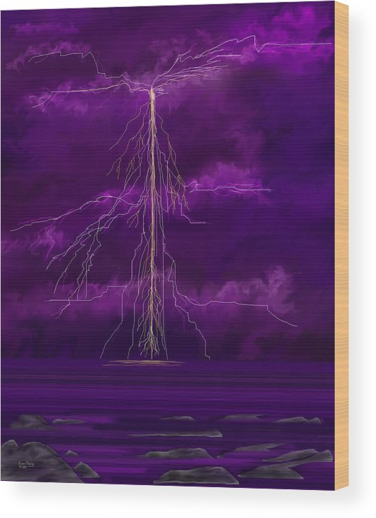 Lightning Storm Wood Print featuring the painting Tesla by Anne Norskog