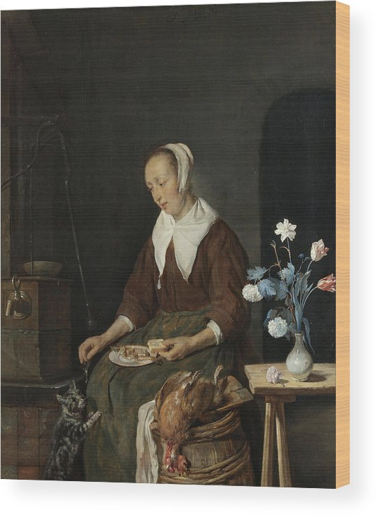 Animal Wood Print featuring the painting The Cat's Breakfast by Gabriel Metsu