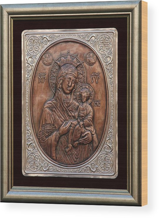 Icons Wood Print featuring the relief The Holly Mother With Jesus Christ by Netka Dimoska