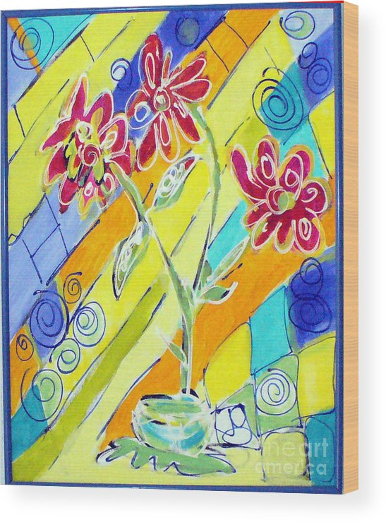 Vase Wood Print featuring the painting Vase by Joyce Goldin