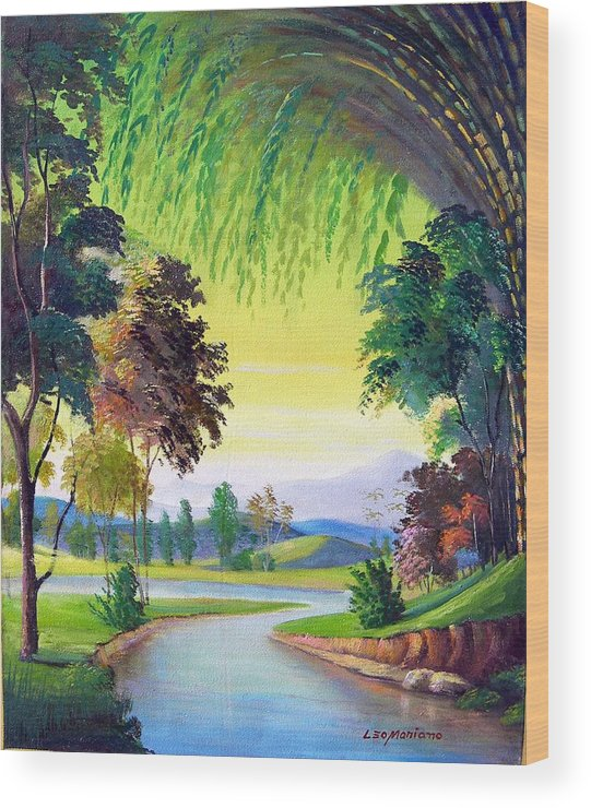 Landscape Wood Print featuring the painting Verde Que Te Quero Verde by Leomariano artist BRASIL