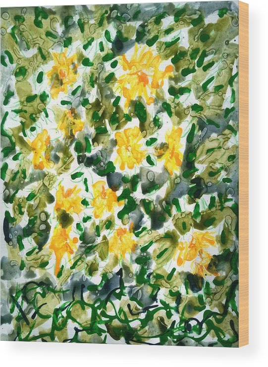 Abstract Wood Print featuring the painting Divine Flowers by Baljit Chadha