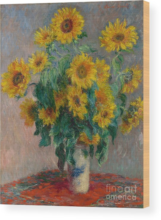 Monet Wood Print featuring the painting Bouquet Of Sunflowers by Claude Monet