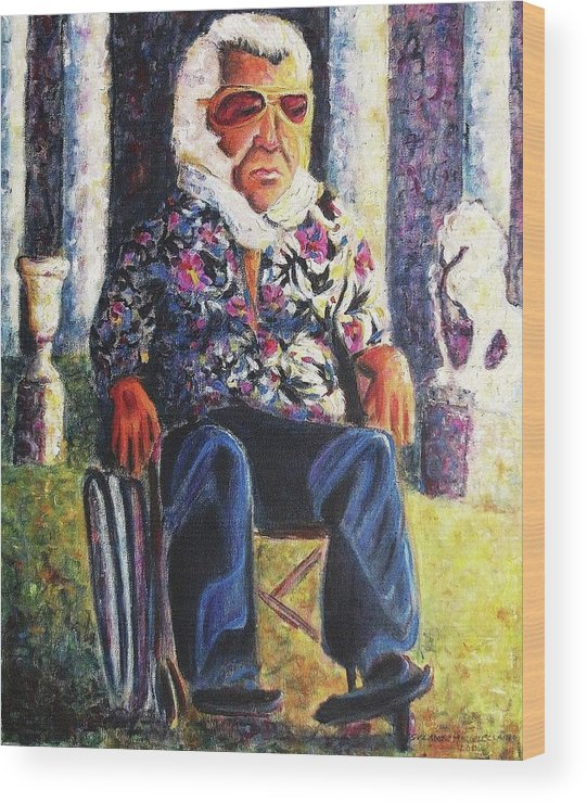 Whellchair Wood Print featuring the painting Untitled by Suzanne Marie Leclair
