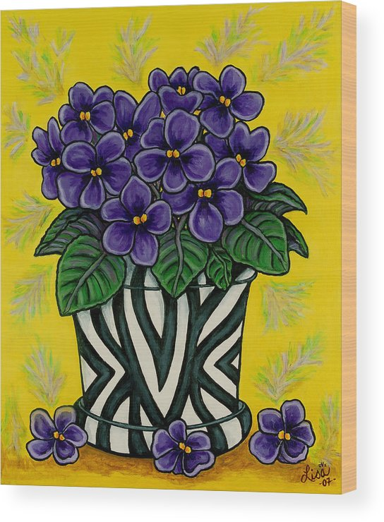 Violets Wood Print featuring the painting African Queen by Lisa Lorenz