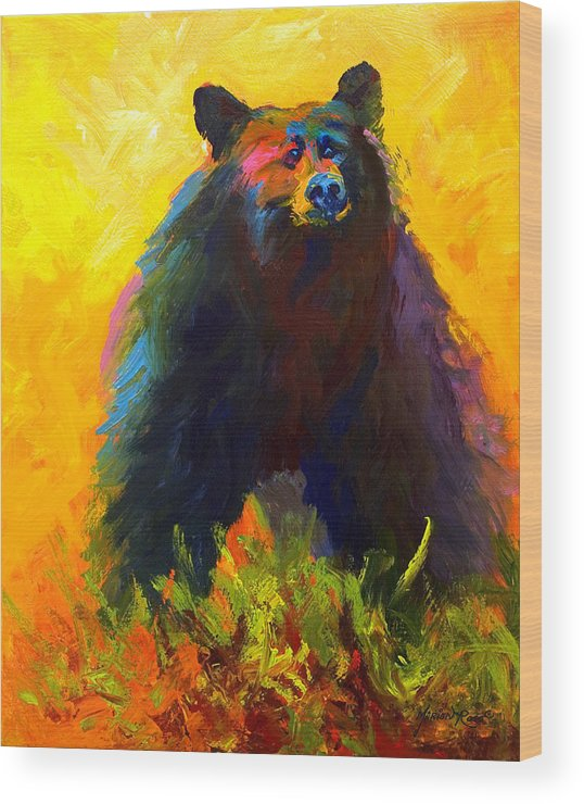 Western Wood Print featuring the painting Alert - Black Bear by Marion Rose