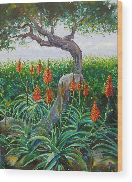 Botanical Wood Print featuring the painting Aloe Vera by Karen Doyle