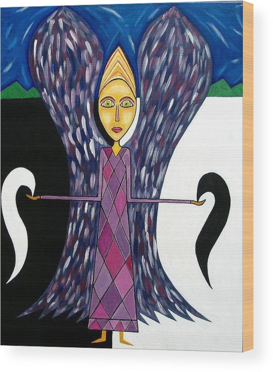 Angel Paintings Wood Print featuring the painting Angel Of Ying Yang by Sandra Marie Adams