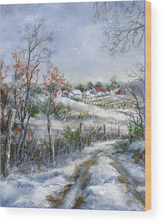 Snowfall Wood Print featuring the painting Around The Bend Sold by Virginia Potter