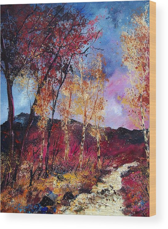 Landscape Wood Print featuring the painting Autumn 760808 by Pol Ledent