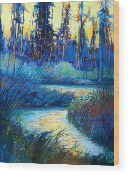 Landscape Wood Print featuring the painting Backwater Light by Dale Witherow