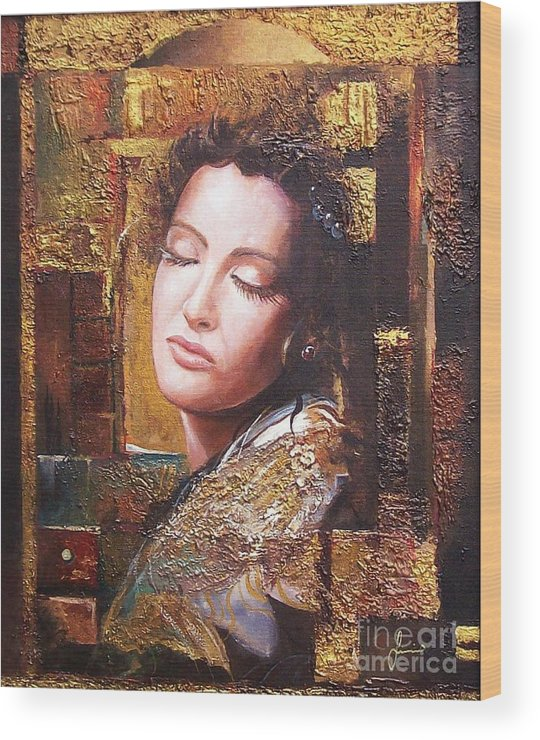 Female Portrait Wood Print featuring the painting Because You Are Beautiful by Sinisa Saratlic