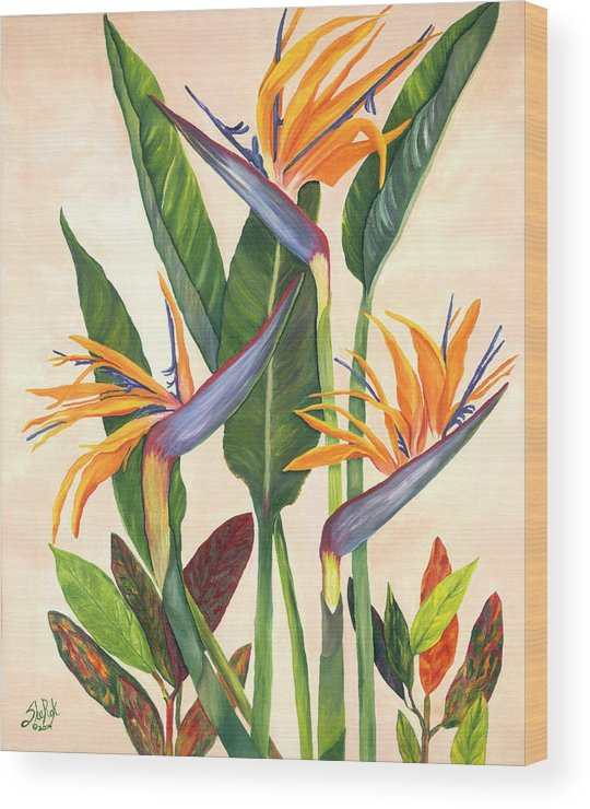 Floral Wood Print featuring the painting Bird Of Paradise by SheRok Williams