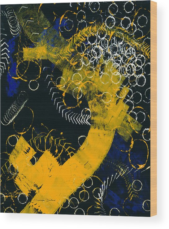 Abstract Wood Print featuring the painting Bleu Et Jaune 1 by Dominique Boutaud