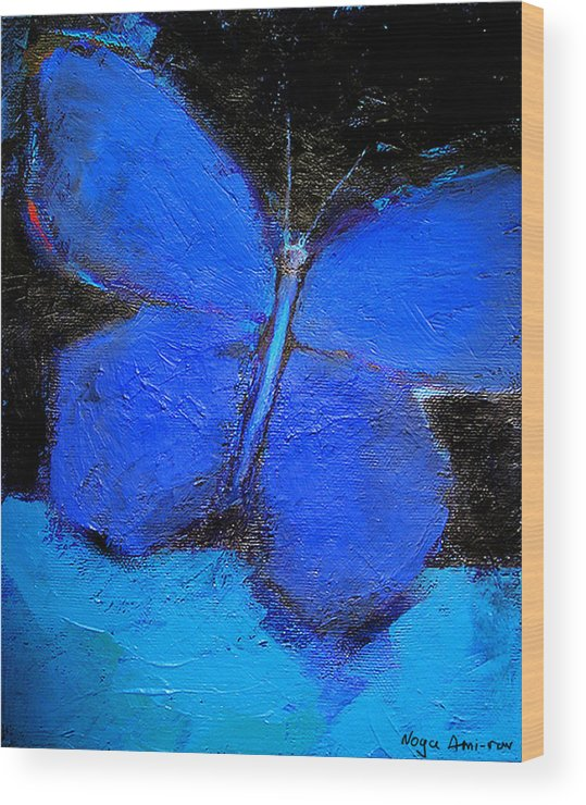 Butterfly Wood Print featuring the painting Blue Butterfly by Noga Ami-rav