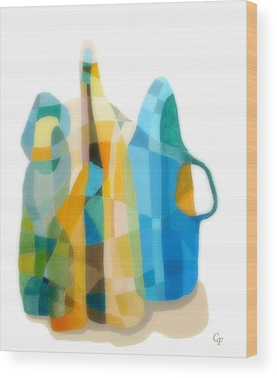 Still Life Painting Wood Print featuring the painting Bottles Still Life by Carola Ann-Margret Forsberg