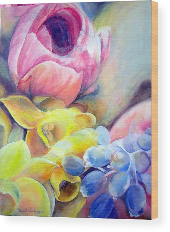 Flower Wood Print featuring the painting Bouquet by Muriel Dolemieux