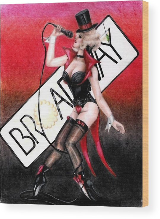 Pin-up Wood Print featuring the drawing Broadway Style by Scarlett Royal