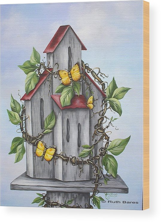 Butterflies Wood Print featuring the painting Butterfly House by Ruth Bares
