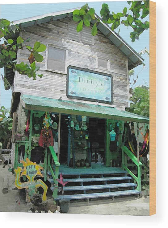 Caribbean Wood Print featuring the mixed media Caribbean Gift Shop by Paul Barlo