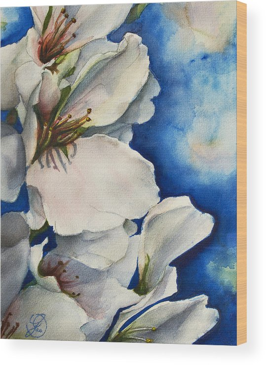 Cherry Wood Print featuring the painting Cherry Blossoms by Gae Helton