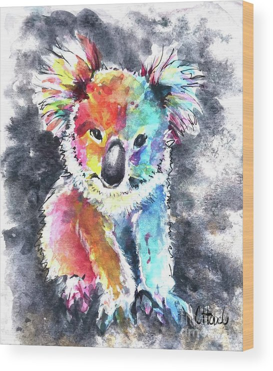 Koala Wood Print featuring the painting Colourful Koala by Chris Hobel