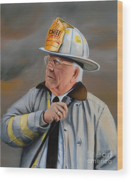 Fire Chief Wood Print featuring the painting Command by Paul Walsh
