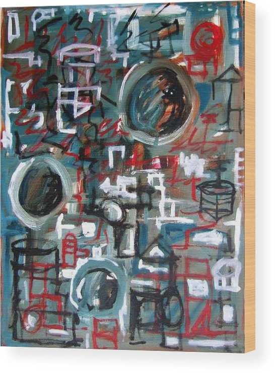 Abstract Wood Print featuring the painting Composition No 9 by Michael Henderson
