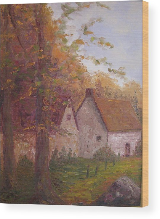 Landscape Wood Print featuring the painting Cottage On The Moors by Belinda Consten