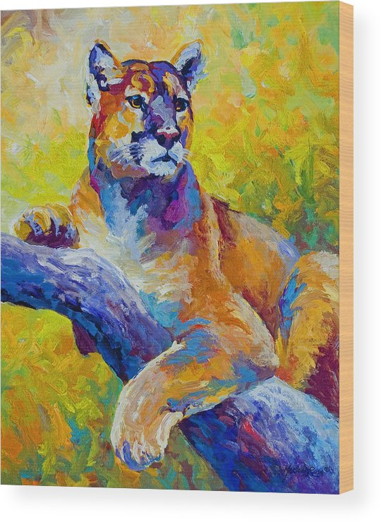 Mountain Lion Wood Print featuring the painting Cougar Portrait I by Marion Rose