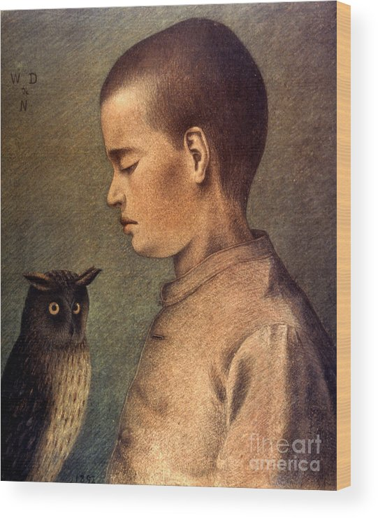 1892 Wood Print featuring the photograph Degouve: Child & Owl, 1892 by Granger