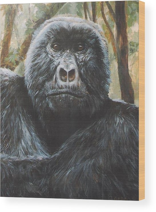Gorilla Wood Print featuring the painting Digit by Steve Greco