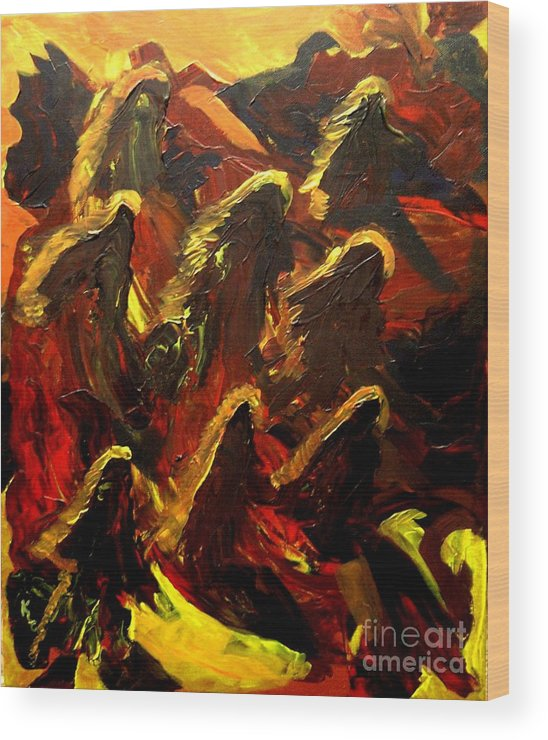 Dragon Wood Print featuring the painting Dragon Fire by Karen L Christophersen